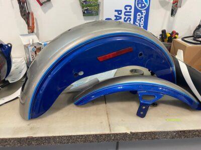 Classic Auto Graphics Blue Silver Bike
